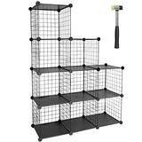TUMUCUTE Wire Storage Cubes, 9-Cube Metal Storage Shelves Bookshelf, Stackable Modular Closet Organizer for Bedroom Living Room, Office, Black