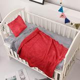 Crib Bedding Set - Crib Bedding Set Girl - Baby Bedding Crib Set Boy - Nursery Bedding Set - Crib Comforter Set - Set of 3 Grey and Light Red Baby Bedding Set.