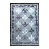 Blue Nile Mills Modern Diamond Geometric Indoor Area Rug Collection, Floral and Diamond Scatter Accent or Area Rug with Durable Latex Spray Backing, 8 x 10', Blue-Charcoal