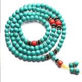 gujiu Turquoise Tassel Bracelet Healing 108 Buddhist Prayer Mala Beads Necklace Tree of Life Pendant jewelry7 Chakra Bead Bracelet