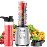 Arcbt Professional Smoothie Blender, 400W Countertop Blender with 2 x 20.3oz Tritan BPA-Free Travel Blender Bottles, Mini Single Serve Personal Blender for Shakes, Juice and Baby Food, Stainless Steel