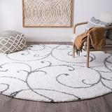Benji White 6 Foot Shag Round Area Rug for Living, Bedroom, or Dining Room - Transitional, Floral