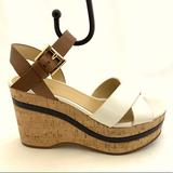 Michael Kors Shoes | Michael Kors Size 7 White Brown Wedge Sandals Shoe | Color: Brown/White | Size: 7