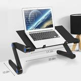 shanglixiansenxinmaoyi Laptop Stand, Adjustable Laptop Bed Table, Portable Laptop Computer Stand Riser, Adjustable Laptop Stand w/ Mouse Pad Metal