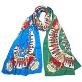 Oblong Scarf In Navy Silk - Blue - Burberry Scarves