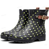 Camfosy Rain Boots for Women Waterproof Ankle Rain Boots Shoes Wide Calf Lightweight Chelsea Garden Shoes Anti Slip Short Boots Booties Comfortable Wellington Boots Rain Footwear 2021 Black2 8 M US