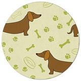 AmbeHome Round Area Rugs Baby Cushion 3 ft, Modern Carpet Floor Cover Nursey Rugs for Kids Play Room/Living Room, Dachshunds Paw Print Bones Playful Pattern, Sturdy Soft Kitchen Mat Rugs