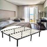 Metal Bed Frame, Mattress Foundation, Wooden Bed Slat and Metal Iron Stand Full Size Iron Bed, Black, 745314""