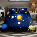 FOLPPLY Duvet Cover Set, California King Bedding Set 3 Pieces, Outer Space Planet Earth Solar System Comforter Sheet Set with Pillow Shams Room Decor for Boys Girls Teens Adults