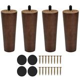 Banveno Wooden Furniture Legs Vintage Couch Hardware Accessaries Mid-Century Modern Sofa Replacement Legs for Armchair Recliner Coffee Table Dresser Bed (6 inch, Brown)