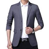 Womleys Mens Casual Daily Suit Jacket Two Buttons Slim Fit Business Blazer Sport Coats (Grey, Small)