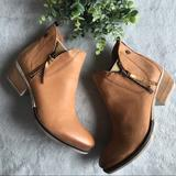Anthropologie Shoes | Anthro Coqueterra Lizzy Tan Leather Ankle Boot 38 | Color: Gold/Tan | Size: 38eu