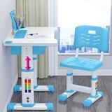 Isabelle & Max™ Ids Functional Desk Chair Set Height Adjustable Children School Study Desk w/ Tilt Desktop Drawer For Boys Girls Wood/Metal in Blue