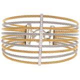 18k White Gold Diamond Two-tone Fan Bangle Bracelet - Metallic - Alor Bracelets