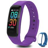 Fitness Tracker,Activity Tracker Watch with Body Temperature Heart Rate Blood Pressure Monitor,Smart Watch with Step Counter,Calorie Counter,Sleep Monitor for Kids Women and Men (B-Purple+Blue)