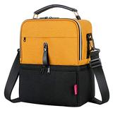 Breast Pump Bag Cooler Compartment for Breast Pump - Middle Size Cooler Bag Double Layer Pumping Bag for Working Outdoor Mom(Black&Yellow)