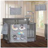BabyFad Teddy Bear Grey 9 Piece Baby Crib Bedding Set
