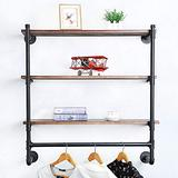 Industrial Pipe Clothing Rack Wall Mounted with Real Wood Shelf,Pipe Shelving Floating Shelves Wall Shelf,Rustic Retail Garment Rack Display Rack Cloths Rack,36in Steam punk Commercial Clothes Racks