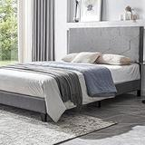 Smile Back Upholstered Queen Bed Frame, Favose Style, Queen Size Bed Frame with Headboard, No Box Spring Needed Wood Frame, Wingback Platform Bed Queen, Floor Bed Frame, Mattress Foundation, Grey