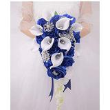 Abbie Home White Calla Lily and Rose Cascading Bride Bouquet Waterfall Wedding Flower - Lily Rhinestone Jewelry Brooches and Satin Ribbon Décor (Royal Blue-New)