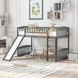 Twin Size Loft Bed for Kids, Space-Saving Loft Bed Frame with Reversible Slide and Safety Rail Ladder, Teens Bedroom Bed, Guest Room Furniture, Grey