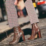 Free People Shoes | Free People Marietta Snakeskin Boots | Color: Brown | Size: 9