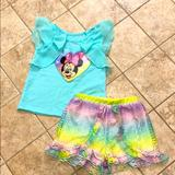 Disney Matching Sets | Disney Junior Minnie T Shirt-And Shorts Size 18 M | Color: Green | Size: 18mb