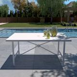 Cosco Steel Patio Dining Table, Table Shape Rectangle, Primary Color White, Height 28.74 in, Model 88682WHT1E