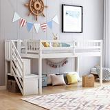 MAFOROB Floor Loft Bed for Kids,Ladder with Storage, Twin Size, White