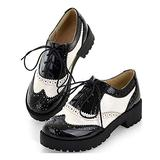 MIOKE Women's Two Tone Lace Up Oxfords Shoes Patent Leather Round Toe Comfy Low Heel Classic Oxford Brogues White