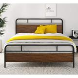 "SHA CERLIN Heavy Duty Full Size Bed Frame with Modern Wood Headboard, Metal Platform Bed with Frosted Iron Frame, 12"" Under Bed Storage, Noise Free, No Box Spring Needed, Brown"
