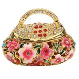 Agatige Small Trinket Box Ornament, Enameled Vintage Jewelry Box Earring Ring Holder for Home Dresser Decor, Gift Box