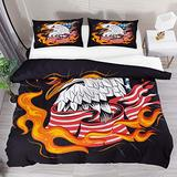 FOLPPLY Eagle with American Flag Fire Duvet Cover Set, California King Bedding Set 3 Pieces, Comforter Sheet Set with Pillow Shams Room Decor for Boys Girls Teens Adults