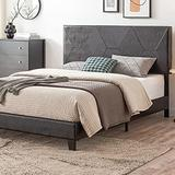 Smile Back Upholstered Queen Bed Frame, Diamond Style, Queen Size Bed Frame with Headboard, No Box Spring Needed Wood Frame, Wingback Platform Bed Queen, Floor Bed Frame, Mattress Foundation, Black