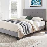 Smile Back Upholstered Pull Point Queen Bed Frame, Queen Size Bed Frame with Grey Headboard, No Box Spring Needed Wood Frame, Wingback Platform Bed Queen, Floor Bed Frame, Mattress Foundation, Grey
