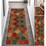 KRFROWa Carpet Runners for Hallway Colorful Multicolor Retro 23.5Inch X 7Feet Rugs Washable Printed Area Rug Runner Non Skid Backing Kitchen Entry Accent Low Pile Rugs Clearance