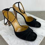Gucci Shoes | Gucci Black Suede Wood Heel Strappy Sandals | Color: Black | Size: 6