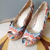 Nine West Shoes   Euc Cute Summer Wedge Sandals   Color: Blue/Orange   Size: 6