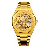 TIME24 Men's Analog Watch Tourbillon Full Stainless Steel Automatic Mechanical Wristwatch Rhinestones and Skeleton Dial Business Waterproof Watch (Gold)