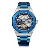 TIME24 Men's Analog Watch Tourbillon Full Stainless Steel Automatic Mechanical Wristwatch Rhinestones and Skeleton Dial Business Waterproof Watch (Blue)