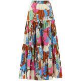 Big Skirt Floral-print Cotton-poplin Maxi Skirt - Pink - LaDoubleJ Skirts