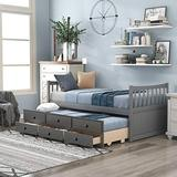 P PURLOVE Twin Size Daybed with Trundle and Storage Drawers Wood Captain Bed Storage Daybed, No Box Spring Needed,Gray