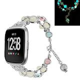 TWBOCV Bracelet Compatible with Fitbit Versa 3 Girls, Fixed Size 5.5-7.5 inch,Handmade Fashion Beaded Elastic Bracelet Band Replacement Strap for Fitbit Versa 3 /Sense (E01)