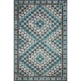 Justina Blakeney x Loloi Malik Oriental Ivory/Blue Area Rug Polyester in Black, Size 45.0 H x 45.0 W x 0.25 D in | Wayfair MALIMAL-09IVOC390R