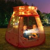 """SKYFIREEA Princess Pop Up Tent For Toddlers & Girls Foldable & Portable w/ A Carrying Bag 47"""" x 47"""" Indoor/Outdoor Playhouse Polyester in Red"""