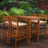 Union Rustic Channing 5 Piece Bar Height Dining Set w/ Cushions Wood in Brown/White, Size 39.0 H x 47.0 W x 24.0 D in   Wayfair