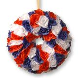 """The Holiday Aisle® 14"""" Patriotic Rose Wreath in Blue/Red/White, Size 14.5 H x 14.5 W x 4.0 D in 