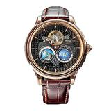 2021 Luxury Mens Automatic Movement Mechanical Watch Double Earth Rotating World Map Dial Stainless Steel Case Leather Strap Wristwatch (Black Dial & Brown Strap)