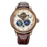 2021 Luxury Mens Automatic Movement Mechanical Watch Double Earth Rotating World Map Dial Stainless Steel Case Leather Strap Wristwatch (White Dial & Brown Strap)