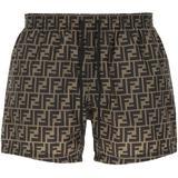 Ff Drawstring Swim Shorts - Gray - Fendi Beachwear
